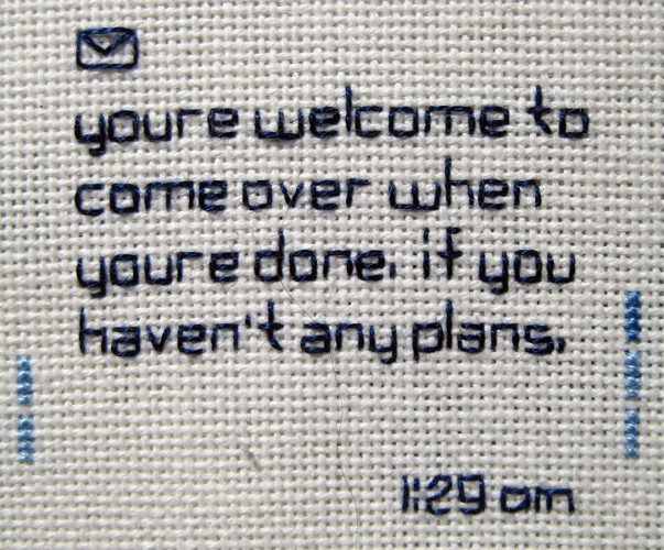 Text message embroideries ginger anyhow